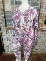 SET-C {Hippie Lounge} Purple Tie Dye Knit Lounge Set PLUS SIZE XL 2X 3X