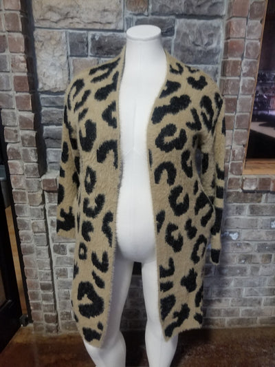 OT-A {Wild Winters} Tan Black Animal Print Faux Fur Cardigan PLUS SIZE 1X/2X 2X/3X