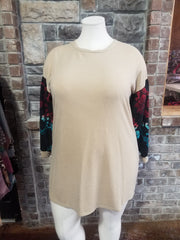 CP-O {My Best Mood} Tan Teal Red Print Sleeve Knit Top PLUS SIZE XL 2X 3X
