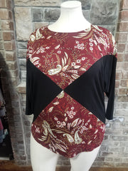 CP-P {Harvest Blessing} Maroon Black Paisley Print Top PLUS SIZE XL 2X 3X