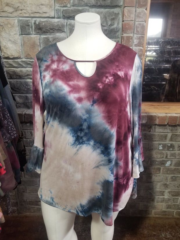 PLS-C {Stylish Outlook} Burgundy Ivory Tie Dye Keyhole Tunic BUTTER SOFT EXTENDED PLUS SIZE 4X 5X 6X