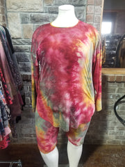 SET-B {New Elements} Burgundy Mustard Tie Dye Lounge Set  BUTTER SOFT PLUS SIZE XL 2X 3X