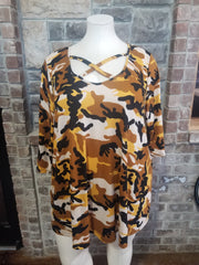 PQ-D {Keep Me Posted} Mustard Camo Cross Neck Knit Tunic *SALE!!* CURVY BRAND EXTENDED PLUS SIZE 3X 4X 5X 6X