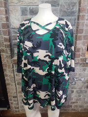 PQ-B {Back In Time} Green Camo Print Cross Neck Knit Tunic *SALE!!* CURVY BRAND EXTENDED PLUS SIZE 3X 4X 5X 6X