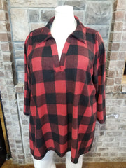 PLS-M {Cozy Getaway} Red Black Plaid V-Neck Collar Tunic CURVY BRAND EXTENDED PLUS SIZE 3X 4X 5X 6X