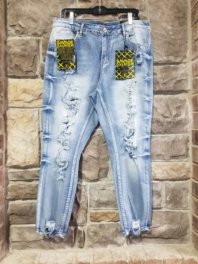 BT-L {Live Well} Distressed Acid Wash Ankle Jeans