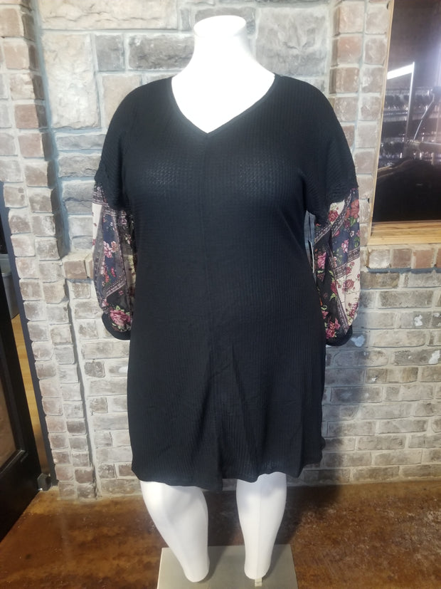 CP-A {Liberty Love} Black Waffle Knit Dress Sheer Floral Sleeve