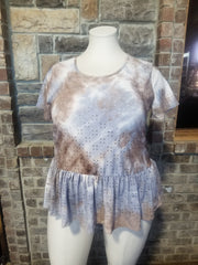 PSS-A {Eye See You} Brown Blue Tie Dye Eyelet Top