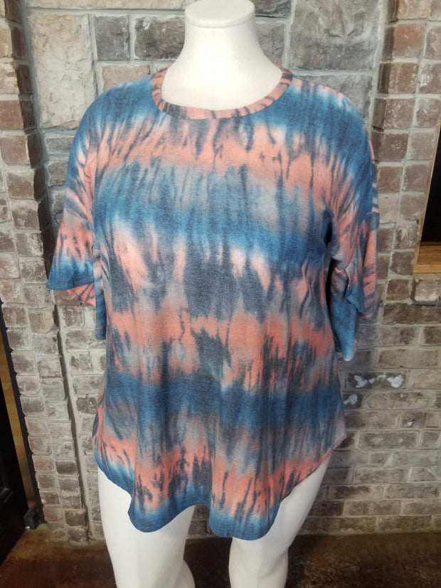 10-13 PQ-C {First Thing} Coral Blue Ruffle Sleeve Tunic PLUS SIZE XL 2X 3X