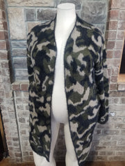 10-21 OT-C {Make Choices} Green Camo Fuzzy Cardigan PLUS SIZE 1X/2X 2X/3X