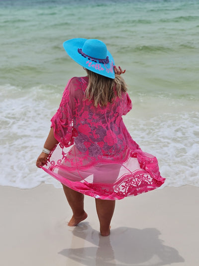 65 OT-A {Lace & Grace} HOT PINK  Lace Caridgan PLUS SIZE 1X 2X 3X