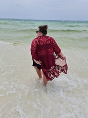 65 OT-D {Lace & Grace} BURGUNDY Lace Cardigan PLUS SIZE 1X 2X 3X