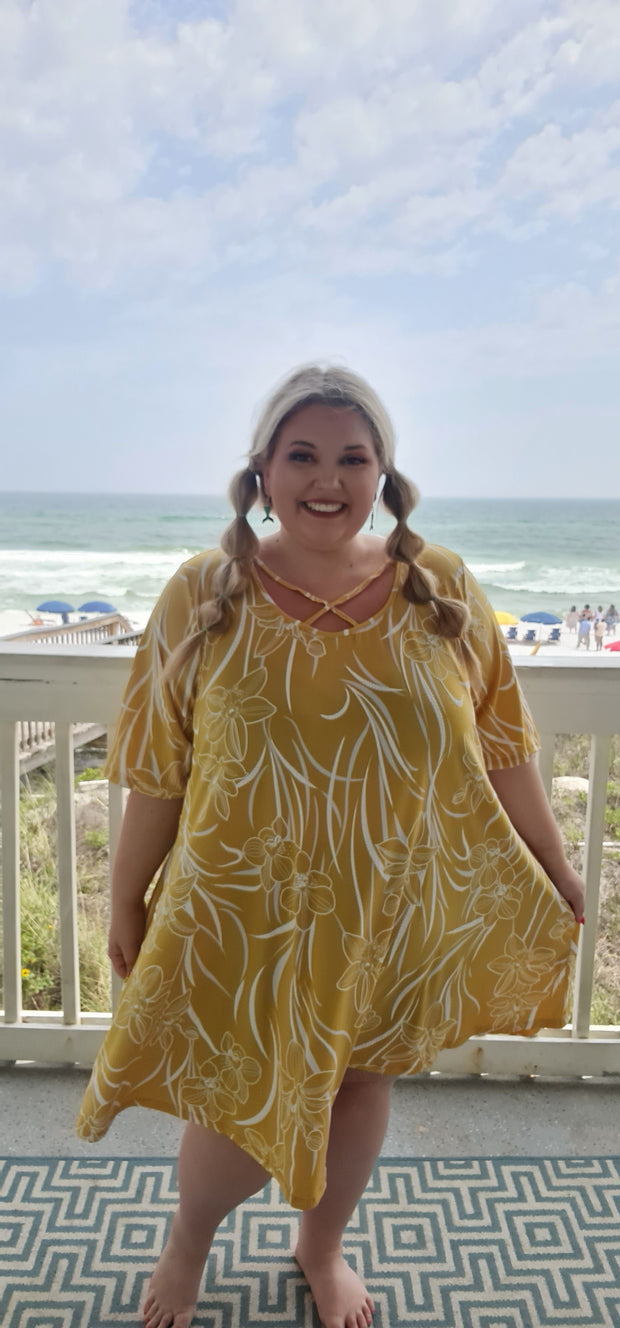 65 PSS-Z {Maui Mix} Yellow Embossed Floral Criss-Cross Dress CURVY BRAND!!! EXTENDED PLUS SIZE 3X 4X 5X 6X