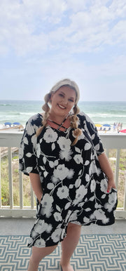 65 PSS-N {Maui Mix} Black Embossed Floral Criss-Cross Dress CURVY BRAND!!! EXTENDED PLUS SIZE 3X 4X 5X 6X