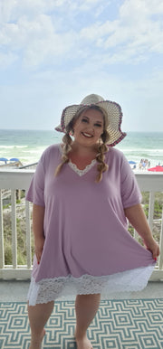65 CP-H {Just Darling} Lilac V-Neck Tunic with Lace Detail CURVY BRAND!!! EXTENDED PLUS SIZE 3X 4X 5X 6X