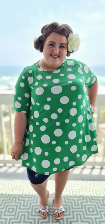 65 PSS-I {Expert Chiller}  Green Polka Dot Tunic EXTENDED PLUS SIZE 3X 4X 5X