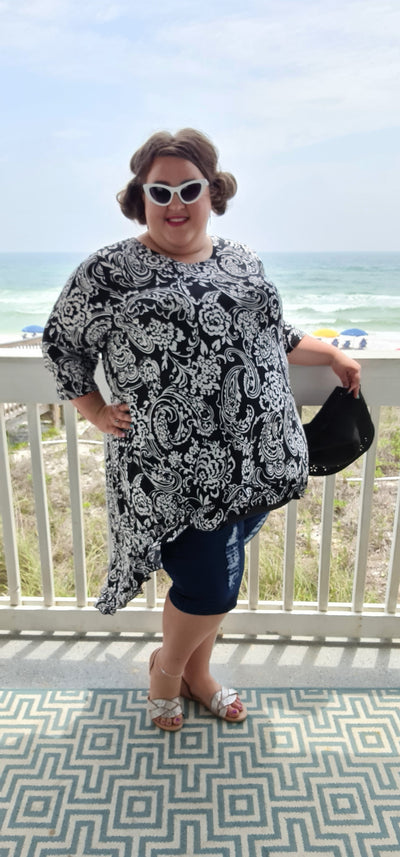 65 LD-K {Fame & Fortune} Black Paisley Floral Hi-Lo Tunic CURVY BRAND!!! EXTENDED PLUS SIZE 3X 4X 5X 6X