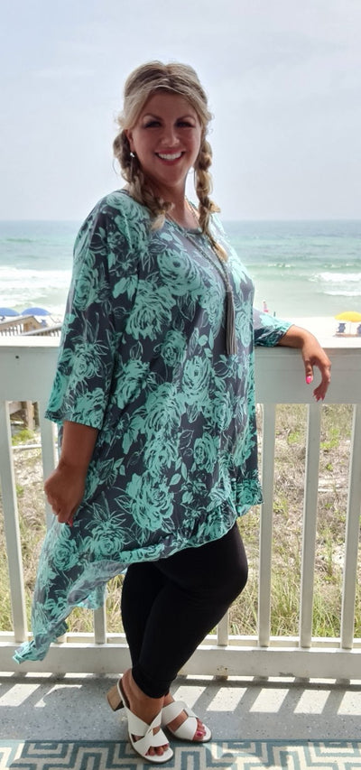 65 LD-A {Fame & Fortune} Mint/Charcoal Floral Hi-Lo Tunic CURVY BRAND!!! EXTENDED PLUS SIZE 3X 4X 5X 6X