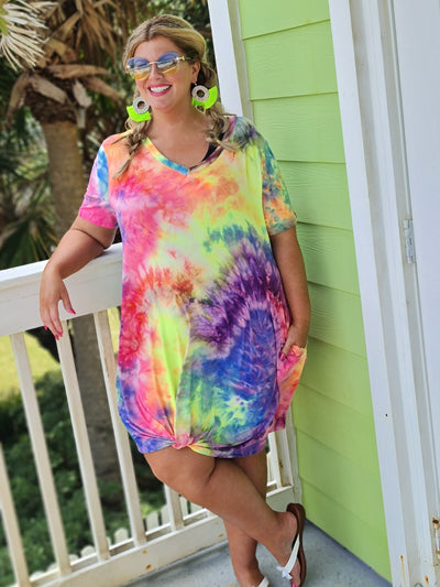 65 PSS-D {Fun In The Sun} Tie-Dye V-Neck Knotted Dress PLUS SIZE 1X 2X 3X