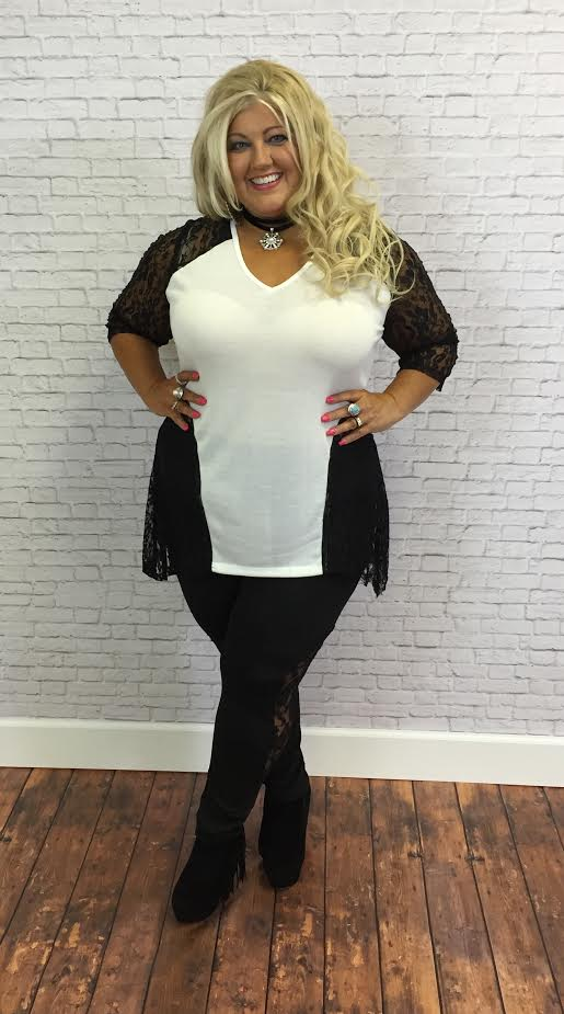 #9-F White V-Neck Tunic with Black Lace Detail