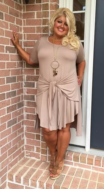 SSS-A Solid MOCHA Dress with Waist Tie