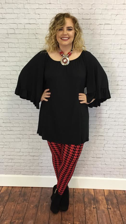 #9-Y BLACK Wide-Sleeve Tunic (Rayon/Spandex)