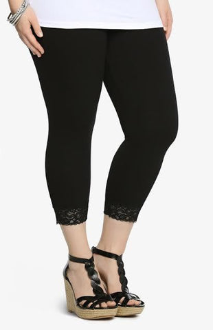 LEG/PQ2-& PLS BLACK LACE HEM Capri Leggings (Cotton-Spandex)