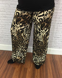 #10-F Animal Print Palazzo Pants (Soft Poly-Spandex)