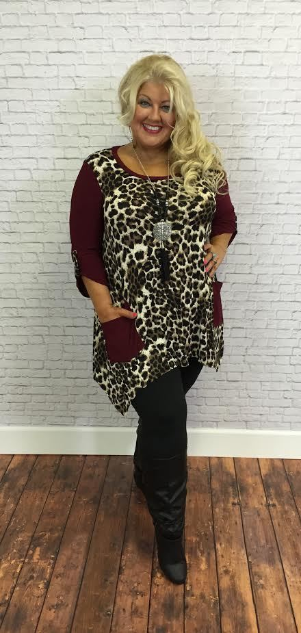 #9-G Wine/Leopard Print Tunic with Front Pockets