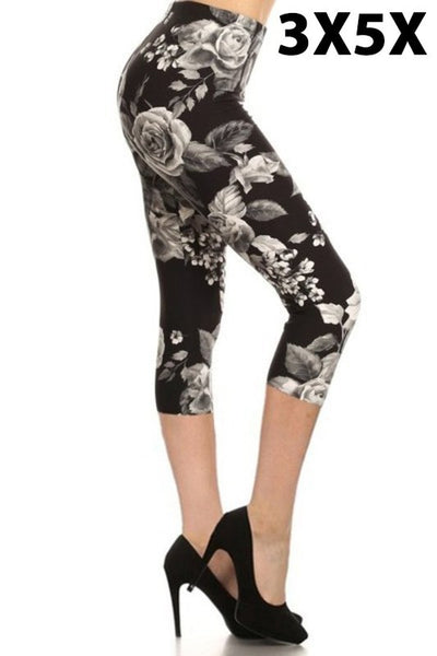 SLS/34 {Floral Goddess} Black/Gray Capri Floral Print Leggings
