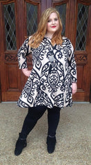 #9-M Taupe/Black Damask  A-Line Tunic or Dress with Side Pockets