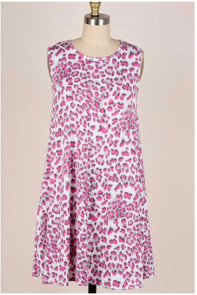 62 SV-D {Season Of Comfort}  Animal Print Sleeveless Dress PLUS SIZE XL 2X 3X