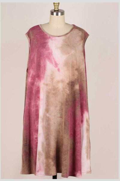 62 SV-F {Love Like Crazy} Tie-Dye Sleeveless Dress EXTENDED PLUS SIZE 3X 4X 5X