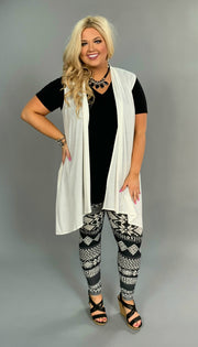OT-M {Life Goes On} Ivory Asymmetrical Vest with Pockets