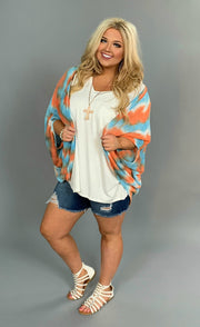 OT-O {Sassy Chic} Coral/Blue Summer Knit Kimono Top SALE!!