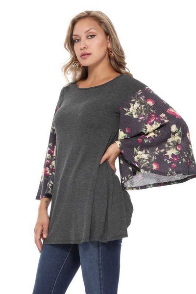 CP-A (So Much Fun) Charcoal With Floral Print Angel Sleeves PLUS SIZE 1X 2X 3X
