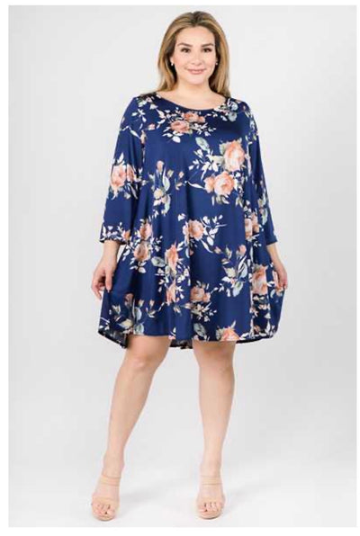 PQ-O ( Edge Of A Petal) Navy Floral Printed Tunic With Pockets EXTENDED PLUS 3X 4X 5X
