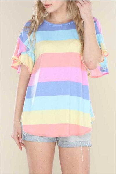 63 PSS-F {The Idea Of Love} Rainbow Striped Top