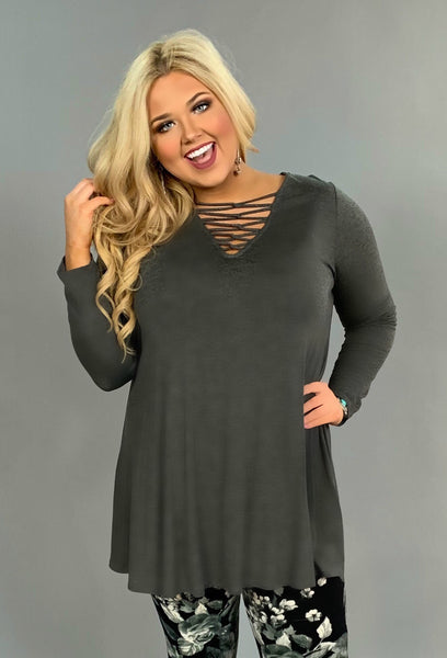 SLS-V Charcoal with Corset Detailed V-Neck SALE!!