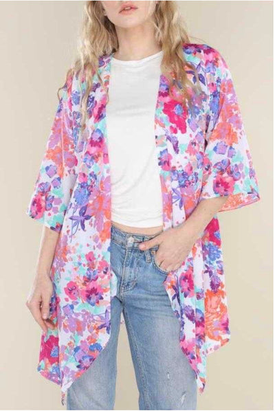 62 OT-D {Beautiful Scents} Floral Print Kimono PLUS SIZE XL 2X 3X