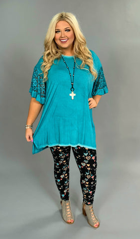 "SSS-X {It's A Miracle} ""UMGEE"" Teal Hi-Lo Tunic Lace Sleeves"
