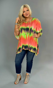 OS-E {Neon Sunset} Asymmetrical Open-Sleeve Tie-Dye Top Extended Plus FLASH SALE!!
