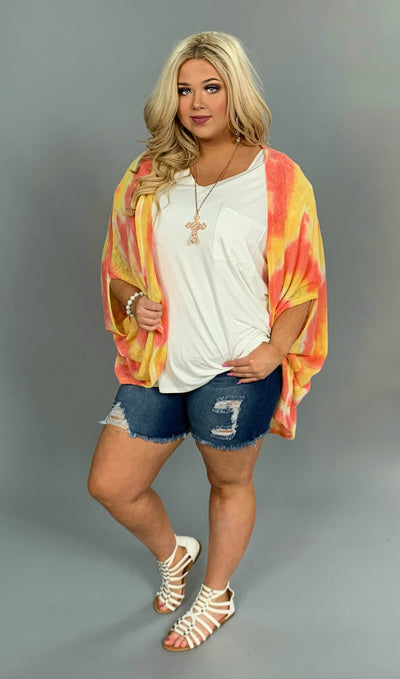 OT-M {Sassy Chic} Yellow/Coral Summer Knit Kimono Top SALE!!!