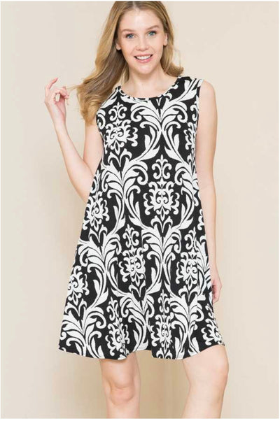 62 SV-G {For You I Will} Black & White Damask Dress PLUS SIZE XL 2X 3X
