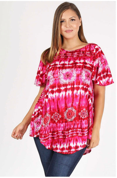 PSS-O {Carefree} Hot Pink Tie-Dye Printed Top Extended Plus