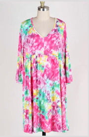 PQ-B {Let's Catch Up} Tie-Dye V-Neck Babydoll Dress  EXTENDED PLUS SIZE 3X 4X 5X