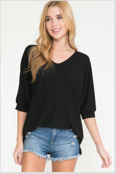 62 SSS-Y {Forgive & Forget} Black Ribbed Top PLUS SIZE XL 2X 3X