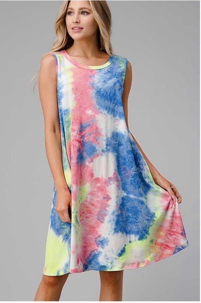62 SV-A {Unbreakable Connection} Sleeveless Tie-Dye Dress PLUS SIZE 3X 4X 5X