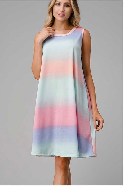 62 SV-E {Tell Me Again} Rainbow Sleeveless Keyhole Dress PLUS SIZE XL 2X 3X