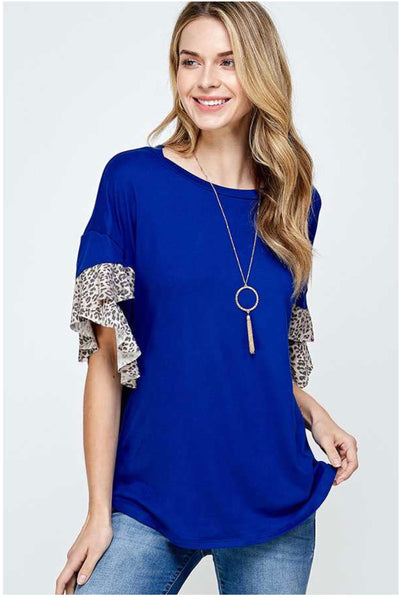 62 CP-B {Forbidden Love} Blue Top with Leopard Detail PLUS SIZE XL 2X 3X